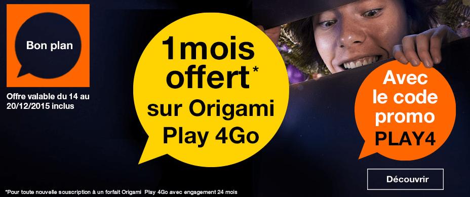 Forfait Origami Play 4 Go : un mois offert et 2 Go de data en plus pendant 6 mois