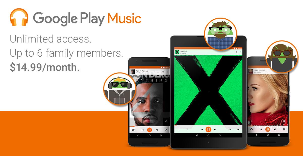 Avec son offre familiale, Google Play Musique se met à niveau de Spotify, Deezer et Apple Music