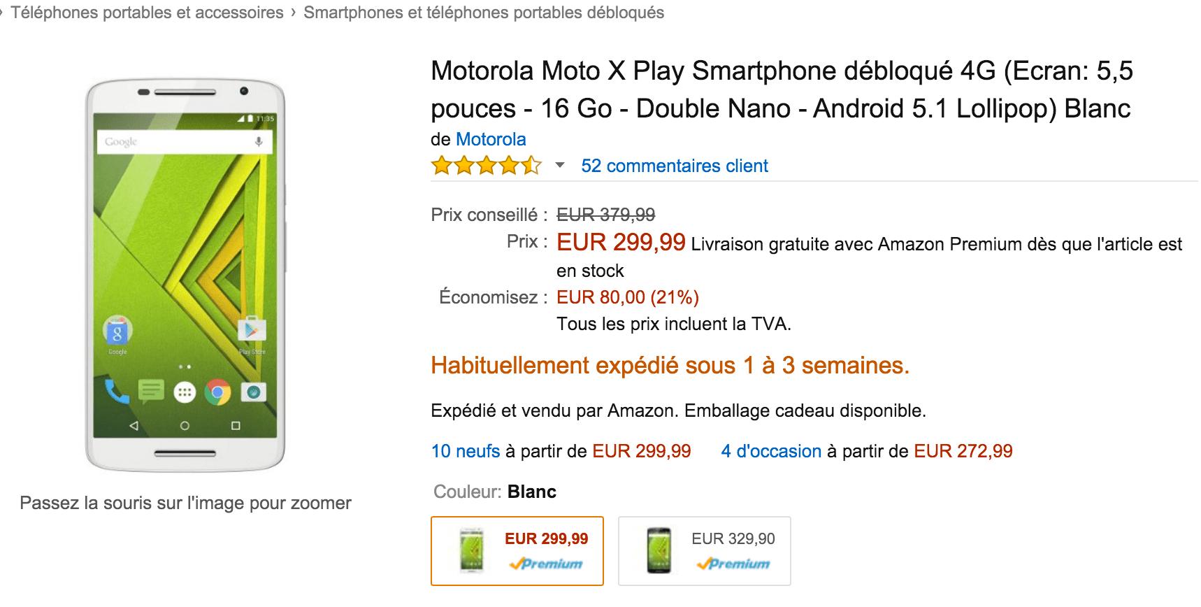 Bon plan : Le Motorola X Play à 250 euros, au lieu de 350 euros