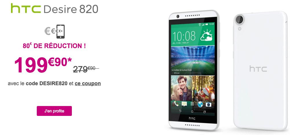 Bon plan : 80 euros de réduction sur le HTC Desire 820 à 199,90 euros