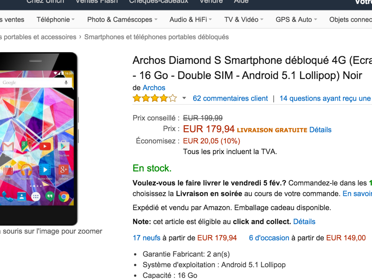 🔥 Bon plan : l'Archos Diamond S à 179 euros sur Amazon