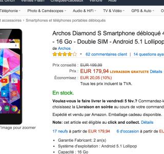🔥 Bon plan : l'Archos Diamond S à 179 euros sur Amazon