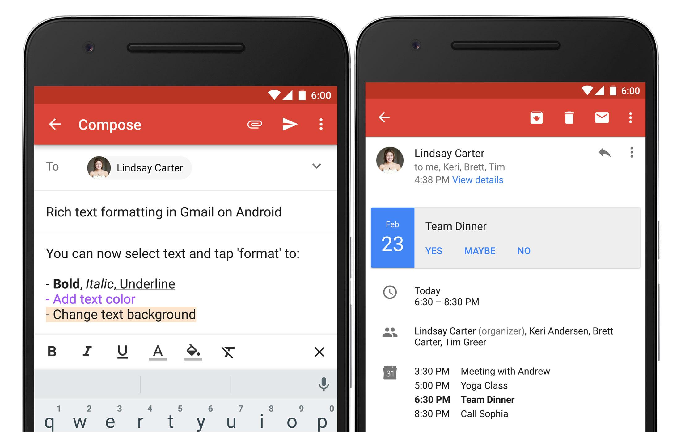 Gmail 6.0 vous laissera mettre en forme vos emails sur votre téléphone