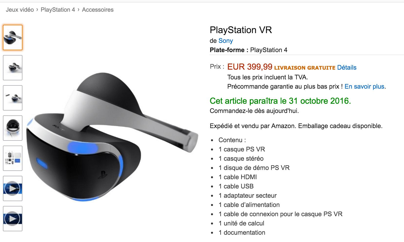 Le Playstation VR est disponible en pré-commande sur Amazon