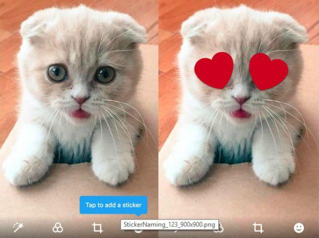 Twitter teste l'intégration de stickers pour l'édition de photos