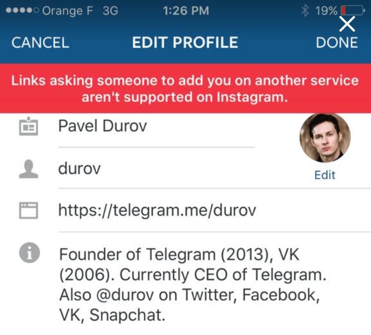 Instagram ne veut pas non plus de liens vers Telegram ou Snapchat