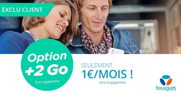Bouygues Telecom propose 2 Go supplémentaires pour 1 euro par mois