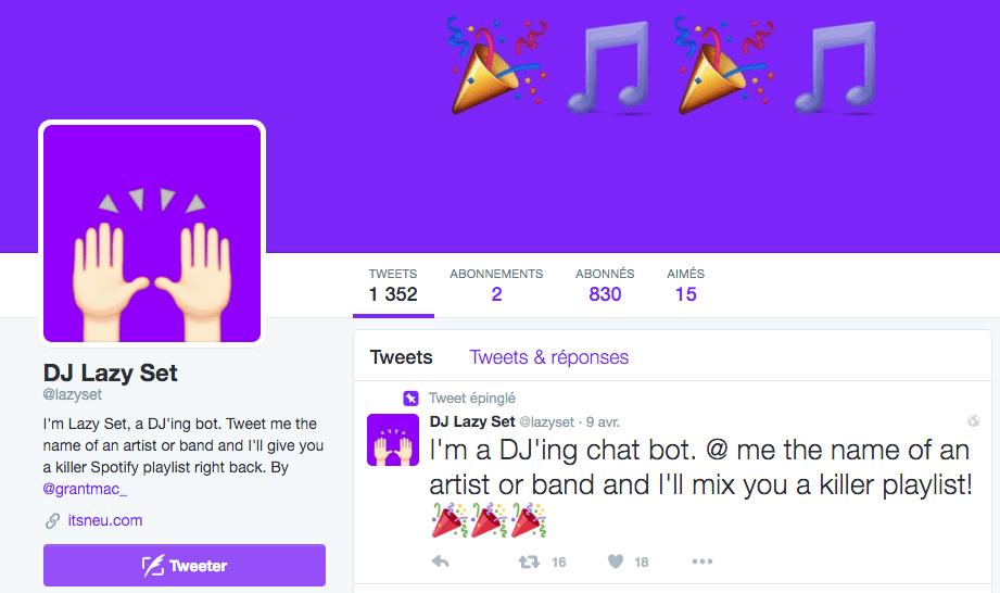 Lazyset : un bot Twitter censé vous proposer la playlist Spotify parfaite
