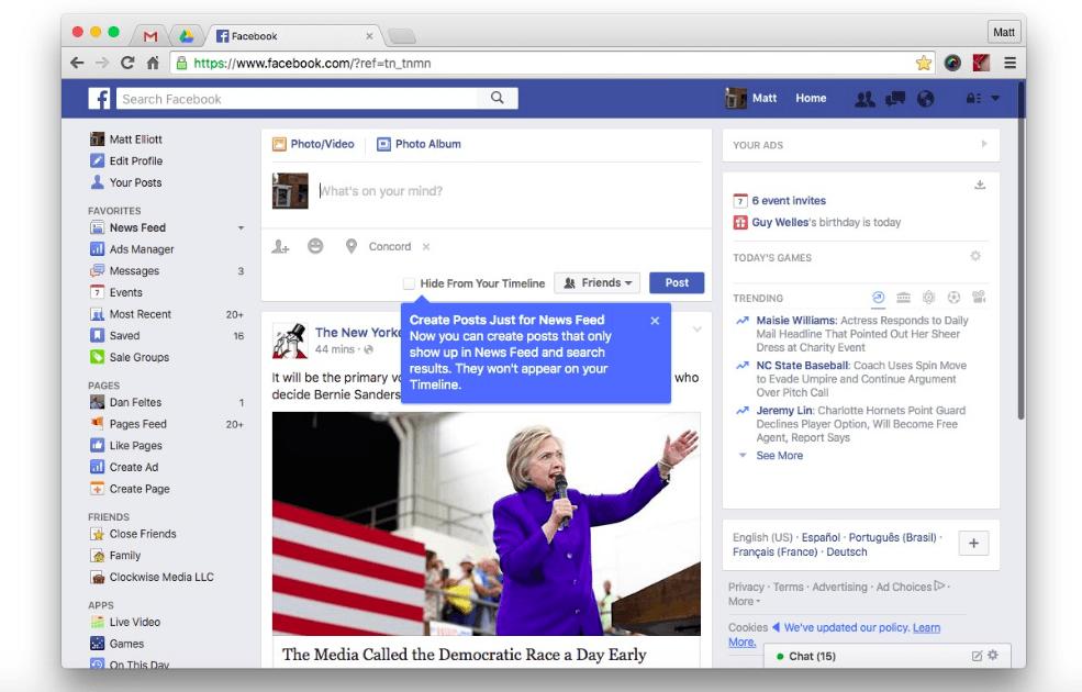 Facebook teste une fonction de partage en dehors de votre timeline