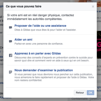 Facebook lance son option anti-suicide