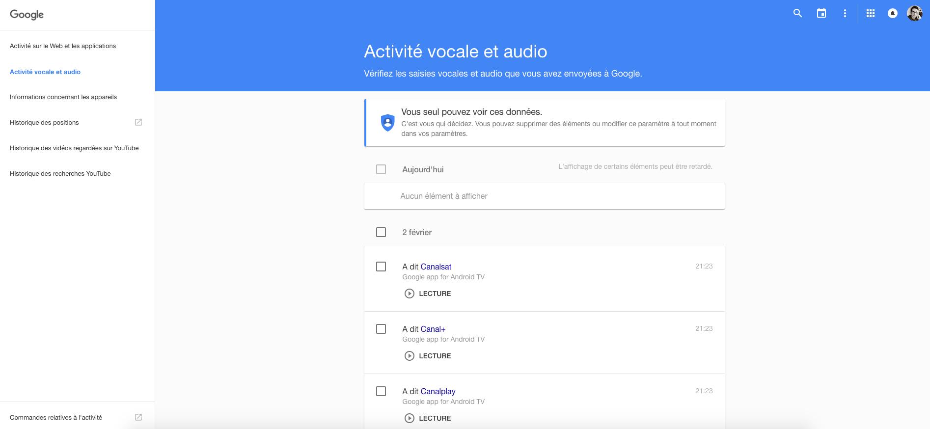 Il est possible d'écouter l'historique de ses recherches vocales Google