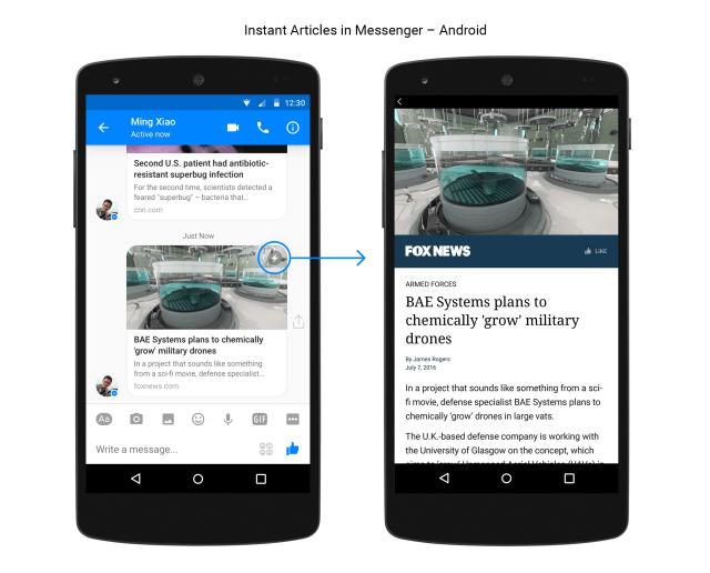 Les Instant Articles sont maintenant dans Facebook Messenger