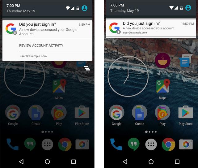 Si on se connecte à votre compte Google, vous allez recevoir une notification Android