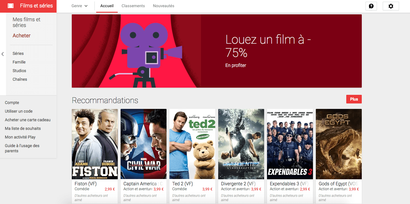 Les films 4K arrivent sur le Google Play Films, mais pas en France