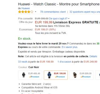 🔥 Bon plan Black Friday : Huawei Watch Classic à 199 euros au lieu de 399 euros