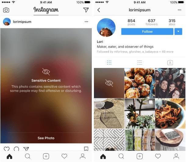 Instagram veut protéger les utilisateurs contre les images jugées sensibles