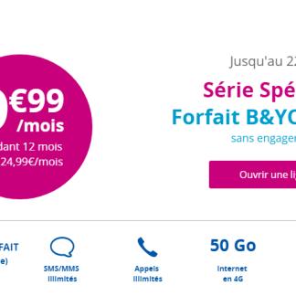 🔥 Bon plan : le forfait B&You 50 Go à 10 euros/mois reconduit