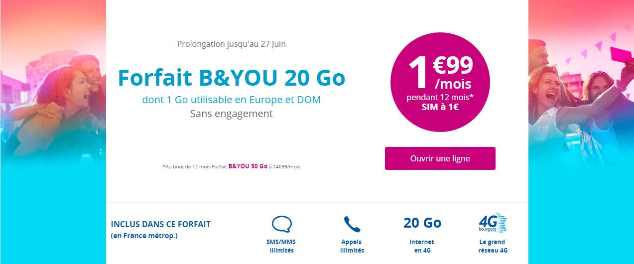 🔥 Bon plan : derniers jours pour l'offre B&You 20 Go à 1,99 euro/mois pendant 1 an