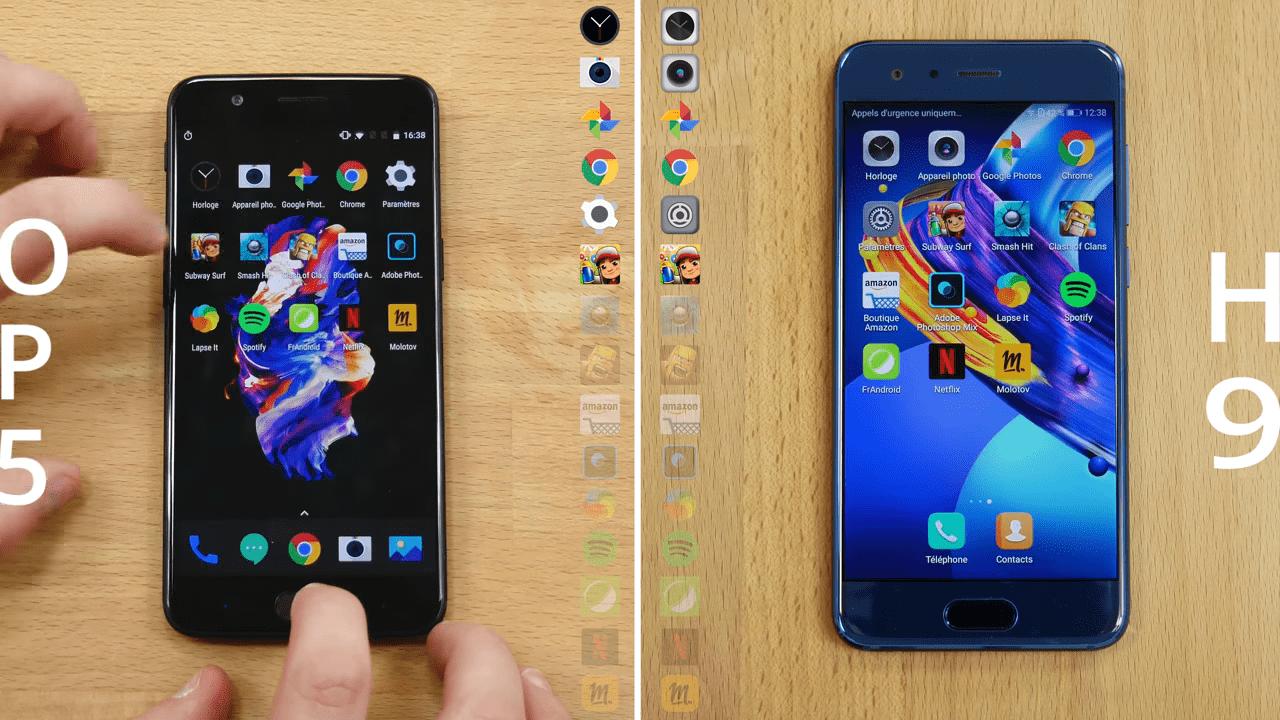 Speedtest vidéo : le Honor 9 résiste-t-il au OnePlus 5 ?
