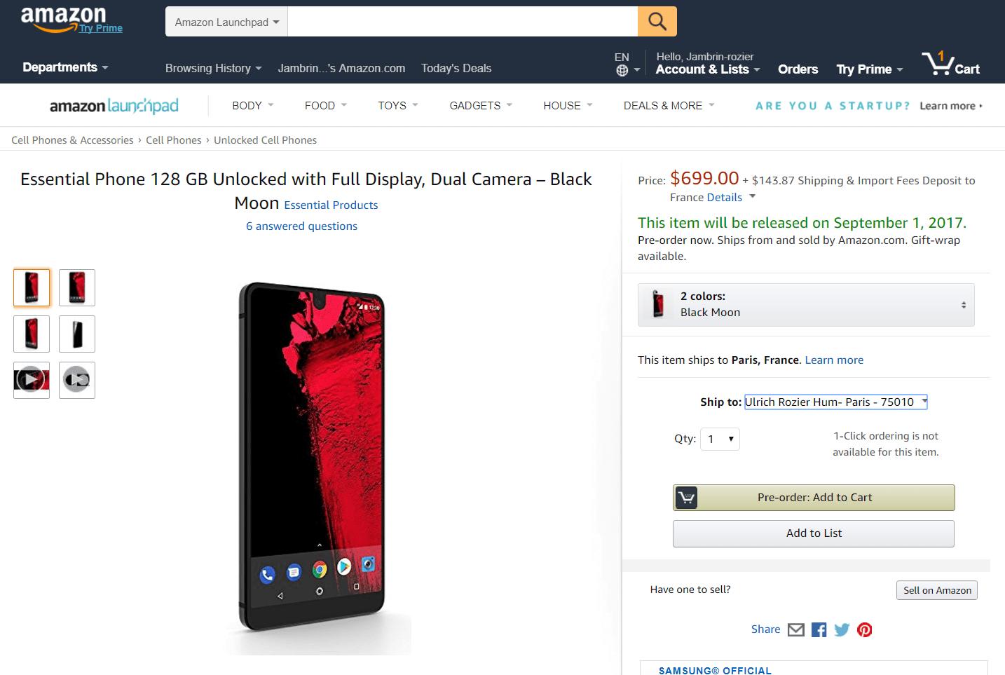 Comment acheter un Essential Phone en France ?