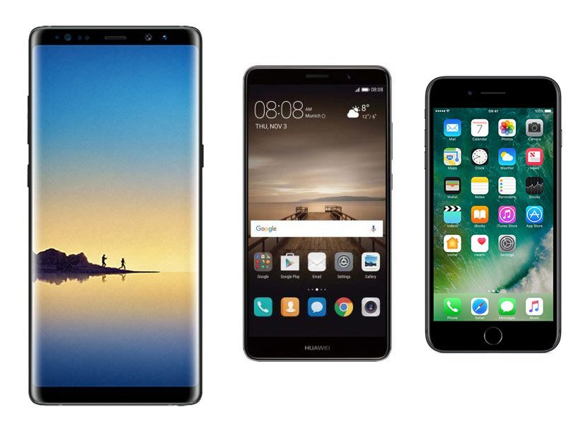 Samsung Galaxy Note 8 vs Apple iPhone 7 Plus vs Huawei Mate 9 : quelle est la meilleure phablette ?