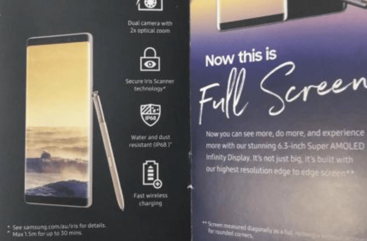 Samsung Galaxy Note 8 : la brochure officielle confirme certaines fonctionnalités