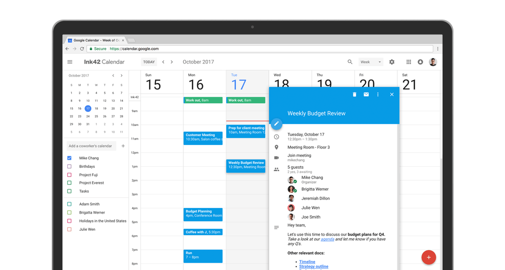 Google Agenda améliore l'interface de sa version web