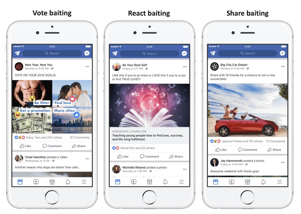 Facebook met une claque aux pages qui mendient des likes, commentaires et tags
