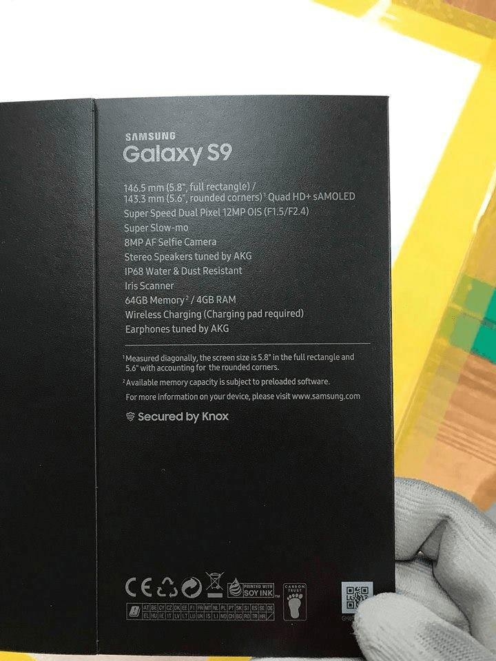 Samsung Galaxy S9 : une boite prétend révéler des caractéristiques très intéressantes