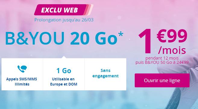 🔥 Bon Plan : dernier jour de l'offre 20 Go de Bouygues à 1,99 euros par mois