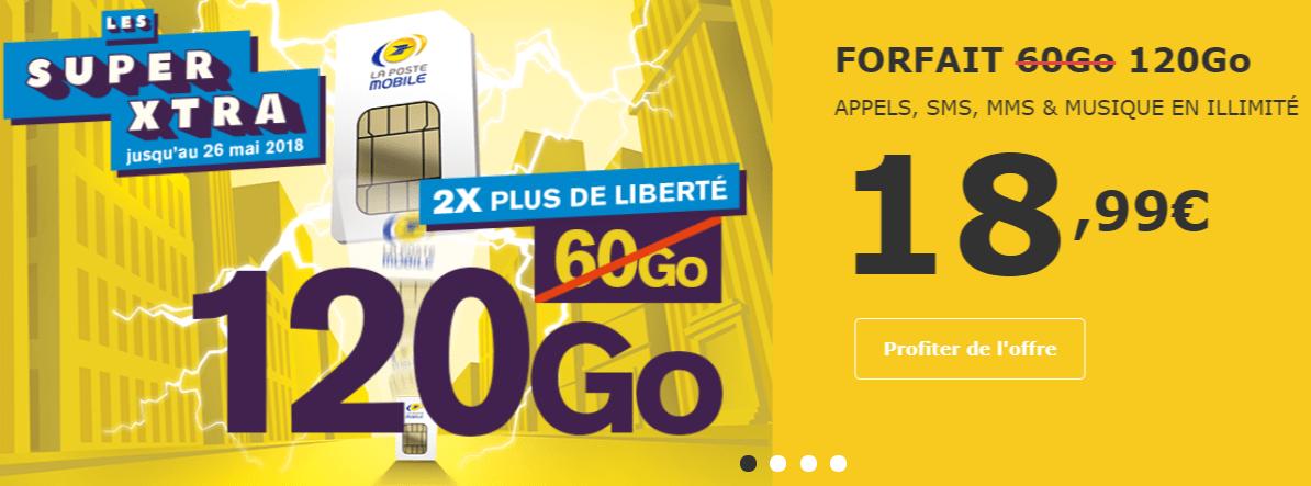 🔥 Bon Plan : deux fois plus de données chez la Poste Mobile (120 Go pour 18,99 euros)