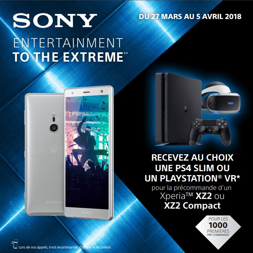 Une PS4 Slim ou un casque PSVR offert pour la précommande du Sony Xperia XZ2 ou XZ2 Compact