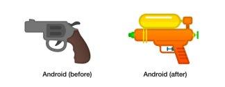 Android P: après le hamburger et la bière, c'est au tour de l'émoji pistolet de changer