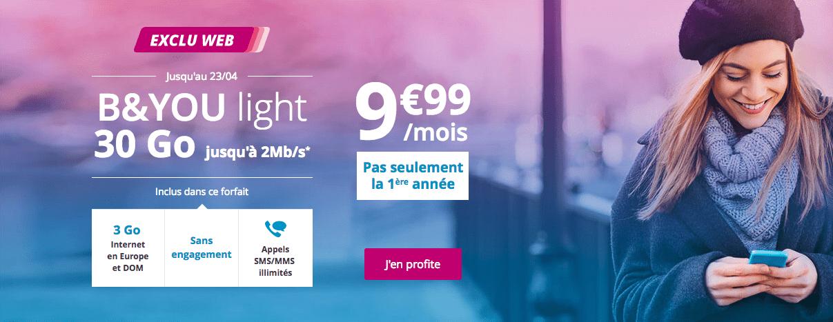 🔥 Bon plan : le forfait B&You Light 30 Go à 9,99 euros par mois pour toute la durée de l'abonnement