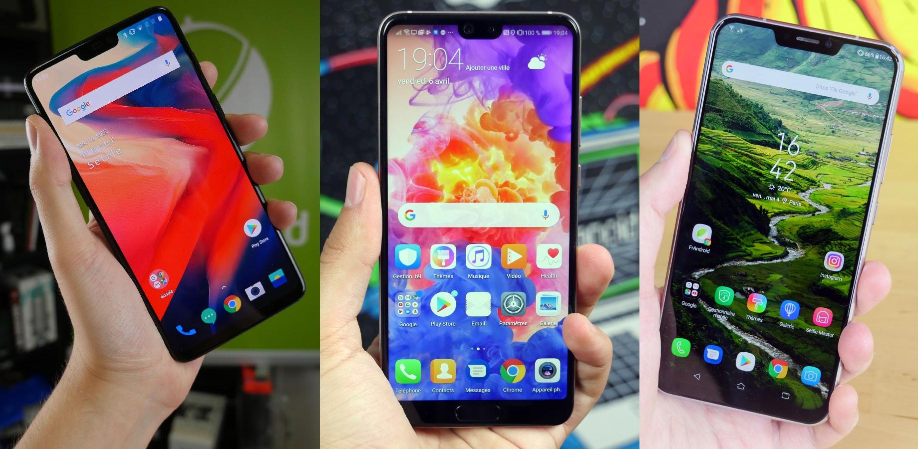OnePlus 6 vs Huawei P20 vs Asus Zenfone 5Z : trois smartphones premium à moins de 550 euros