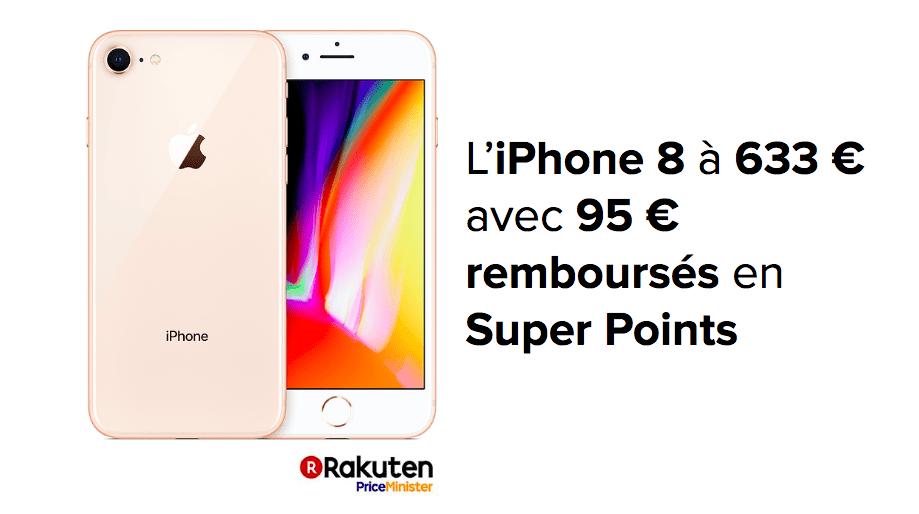 L'iPhone 8 en promotion à 633 euros avec 95 euros de remboursés en bon d'achat