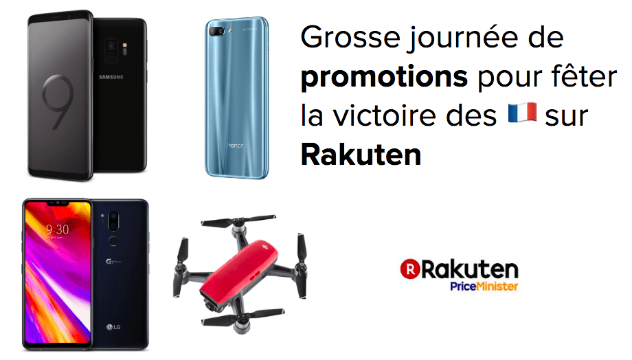 Samsung Galaxy S9 à 509 euros, Honor 10 à 332 euros, LG G7 à 539 euros et DJI Spark à 285 euros