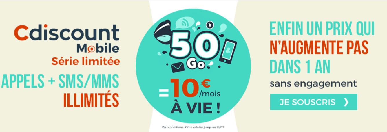 🔥 Derniers jours : un forfait mobile illimité avec 50 Go de 4G à 10 euros par mois à vie