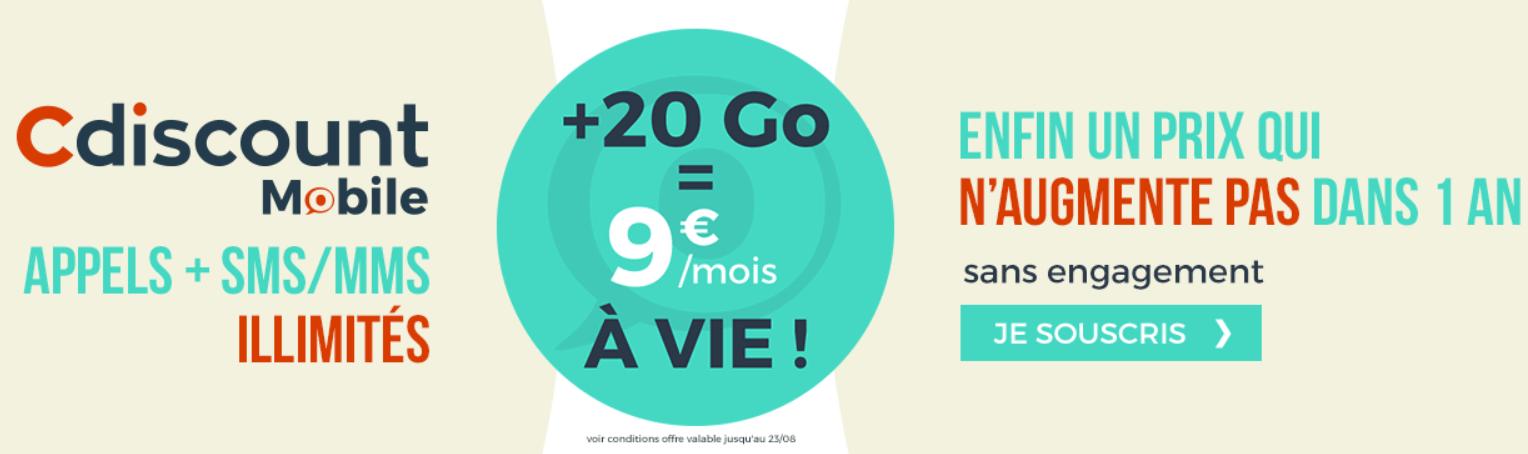 🔥 Bon plan : un forfait mobile illimité avec 20 Go de 4G à 9 euros par mois à vie