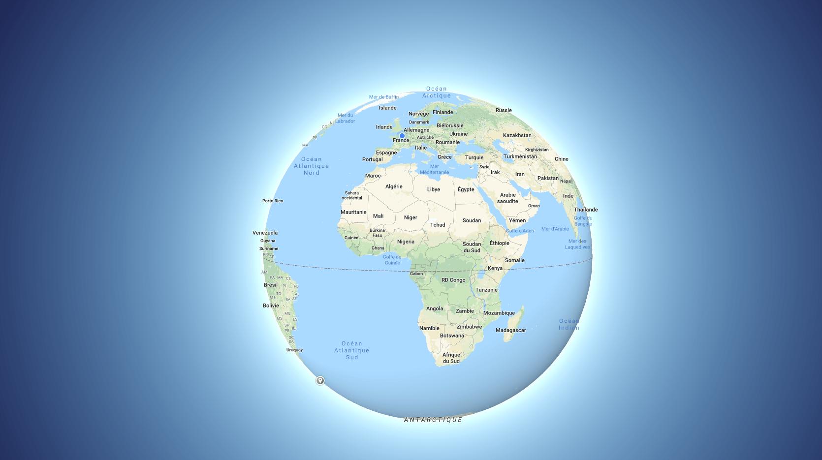 Google Maps : peu pertinent, le planisphère laisse la place au globe terrestre, et c'est chouette