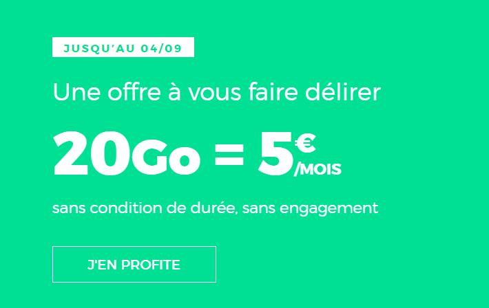 🔥 Prolongation : forfait mobile 4G RED avec 20 Go pour 5 euros/mois à vie