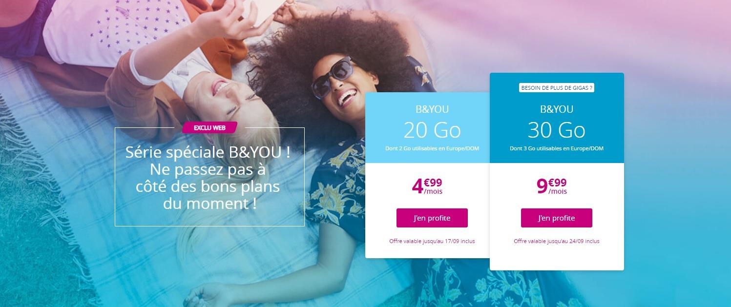 🔥 Bon plan : forfaits mobiles 4G B&You à 4,99 euros pour 20 Go et 9,99 euros pour 40 Go