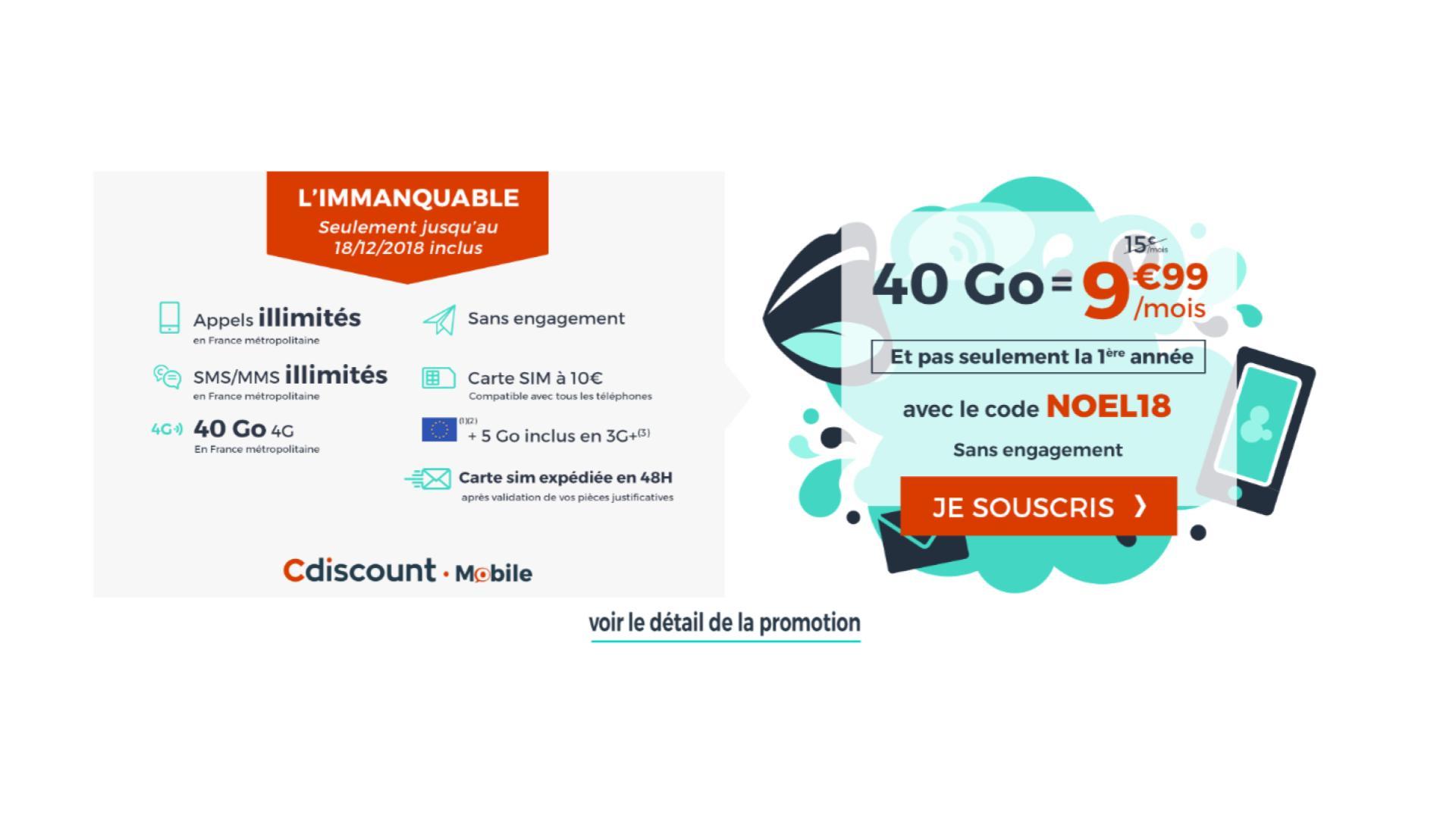 🔥 Prolongation : le forfait mobile Cdiscount avec 40 Go de 4G est à 9,99 euros/mois à vie