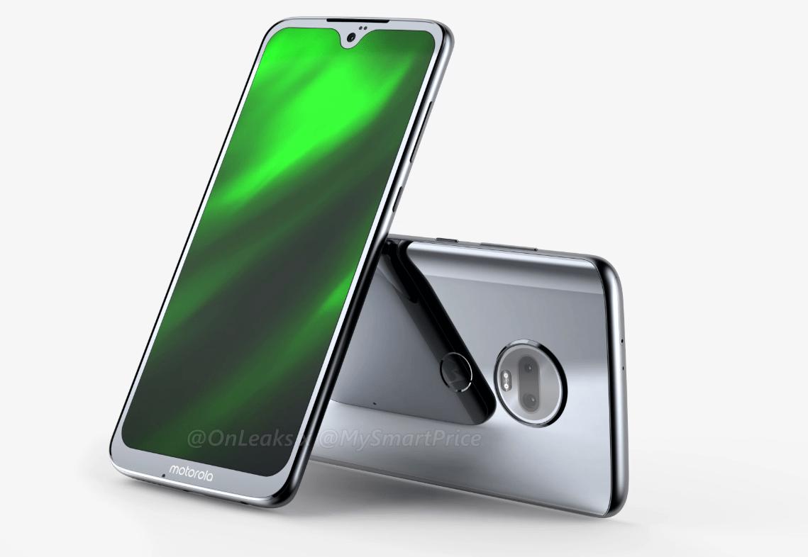 Moto G7 : des rendus montrent son dos en verre et ses larges bordures