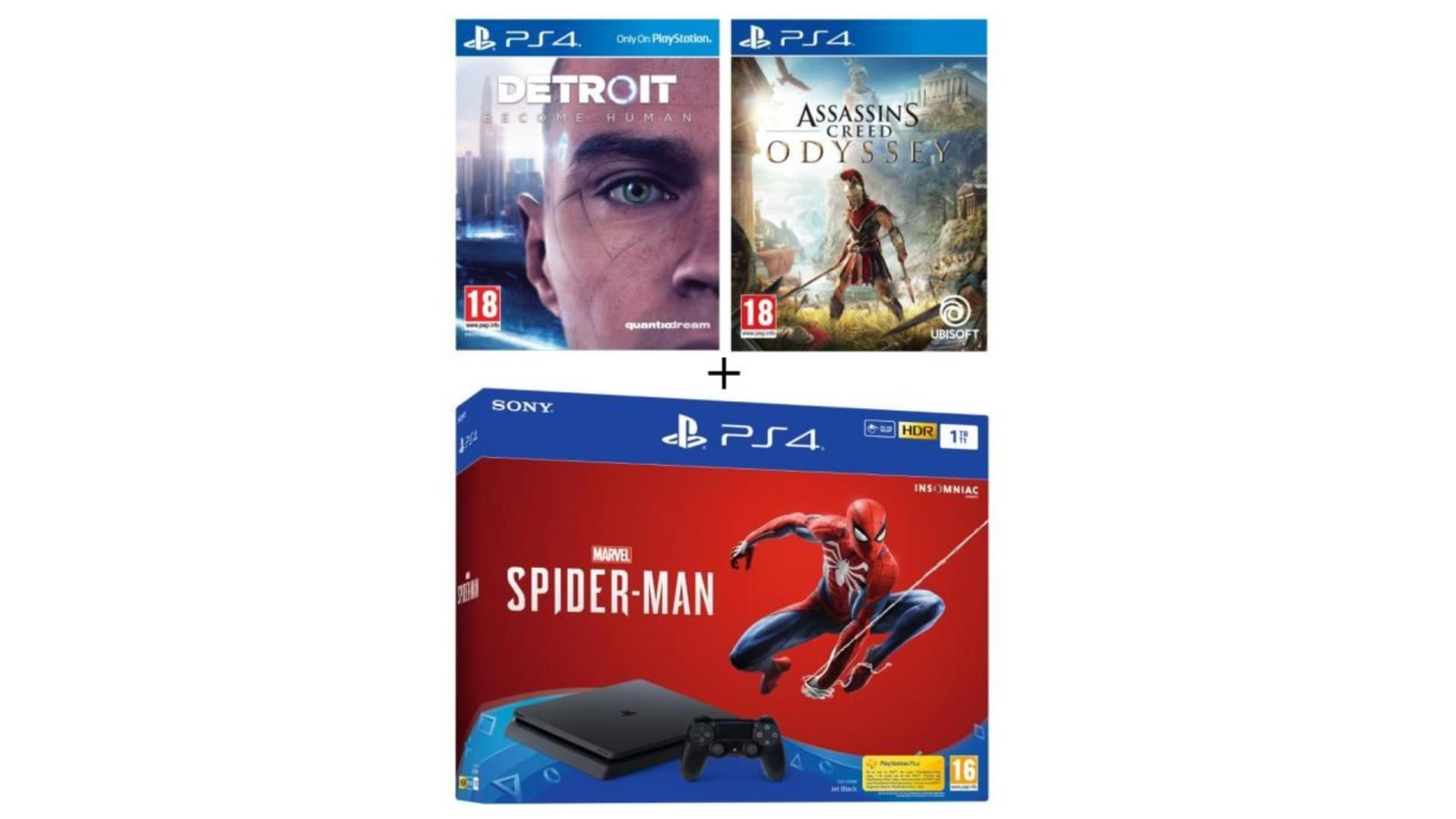 🔥 Cyber Monday : pack PS4 (1 To) + 3 jeux (Assassin's Creed, Detroit et Spider-Man) à 309,99 euros