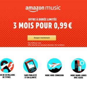 🔥 Bon plan : 3 mois de streaming musical Amazon Music Unlimited pour 0,99 euros
