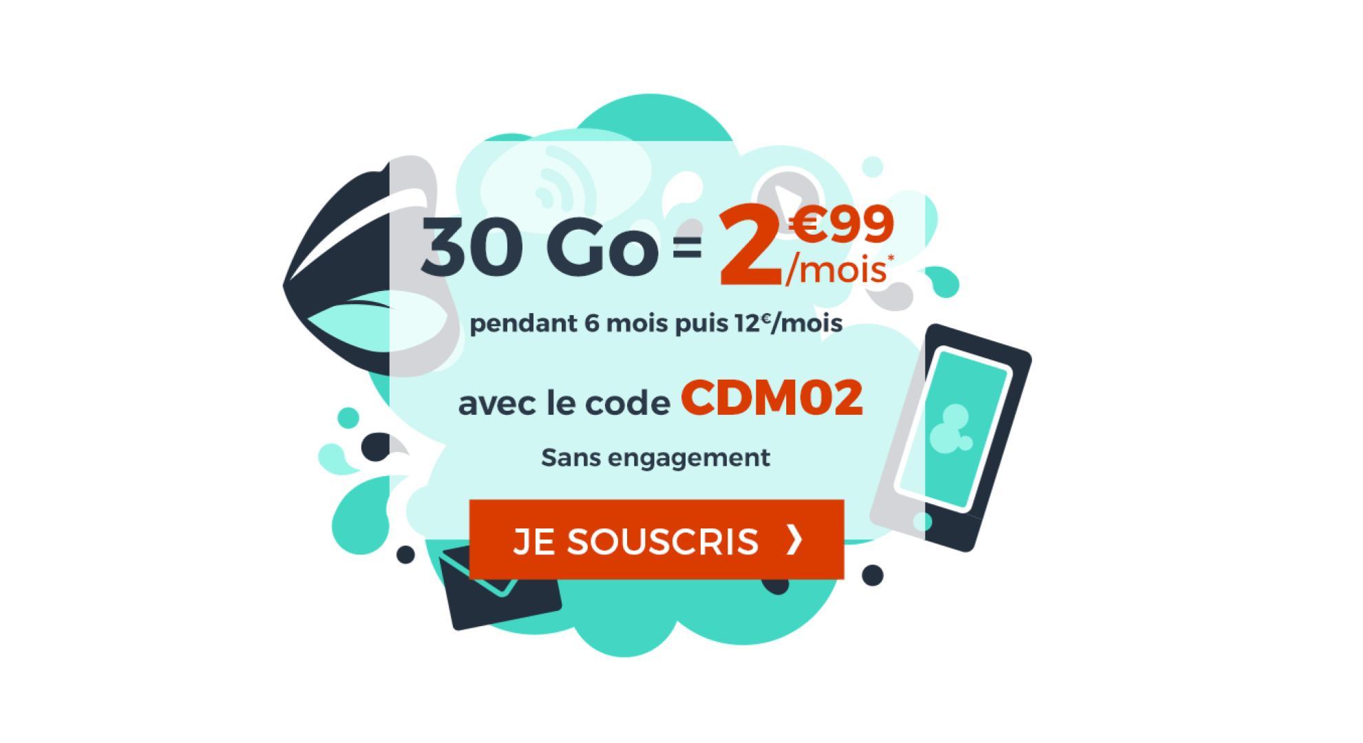 🔥 Bon plan : le forfait mobile Cdiscount 30 Go est à 2,99 euros par mois pendant 6 mois