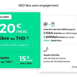 🔥 Prolongation : la RED box (avec l'option débit plus 1 Gb/s) à 20 euros par mois à vie