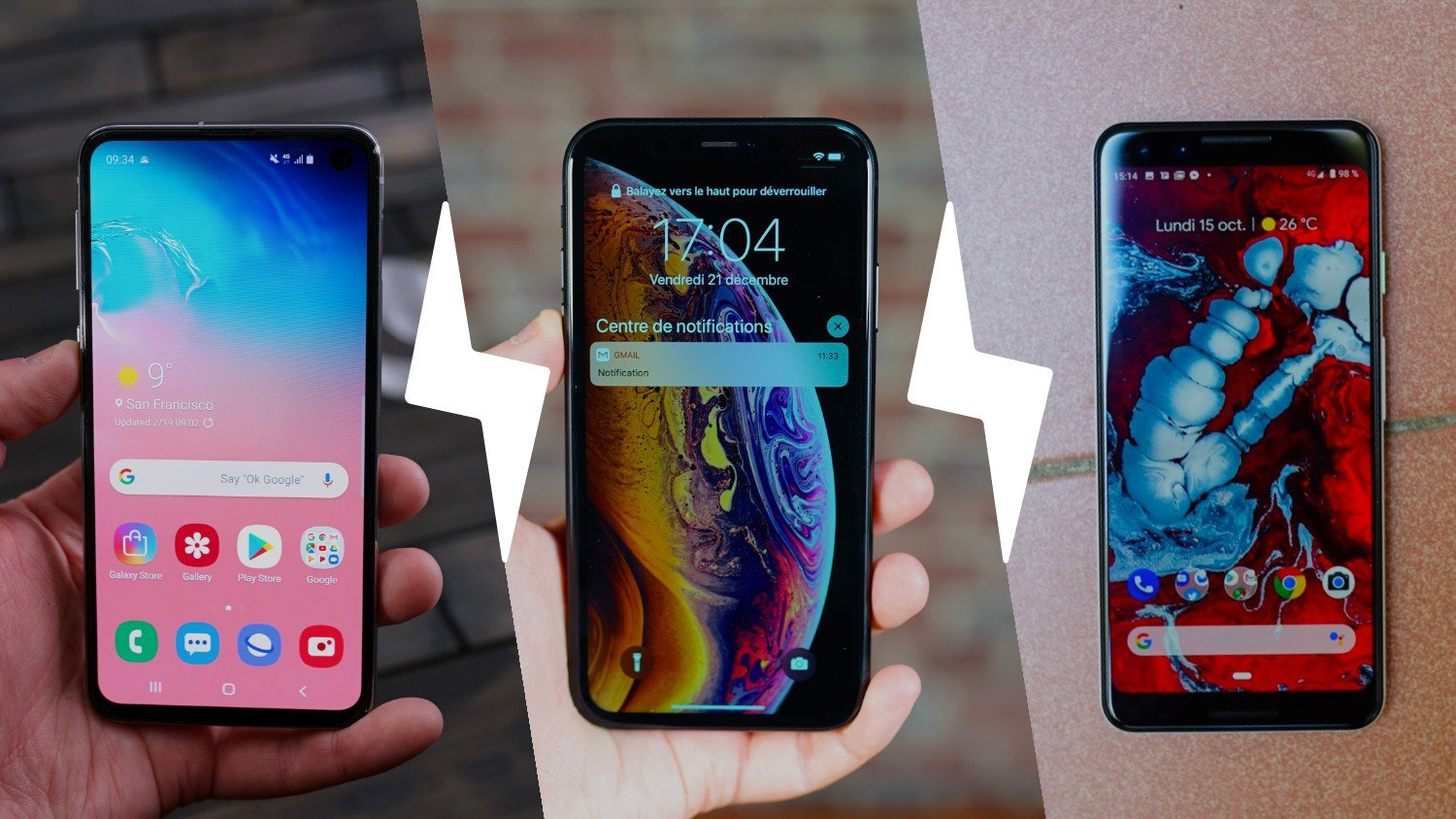 Samsung Galaxy S10e vs Apple iPhone XR vs Google Pixel 3 : comparatif du nouveau haut de gamme