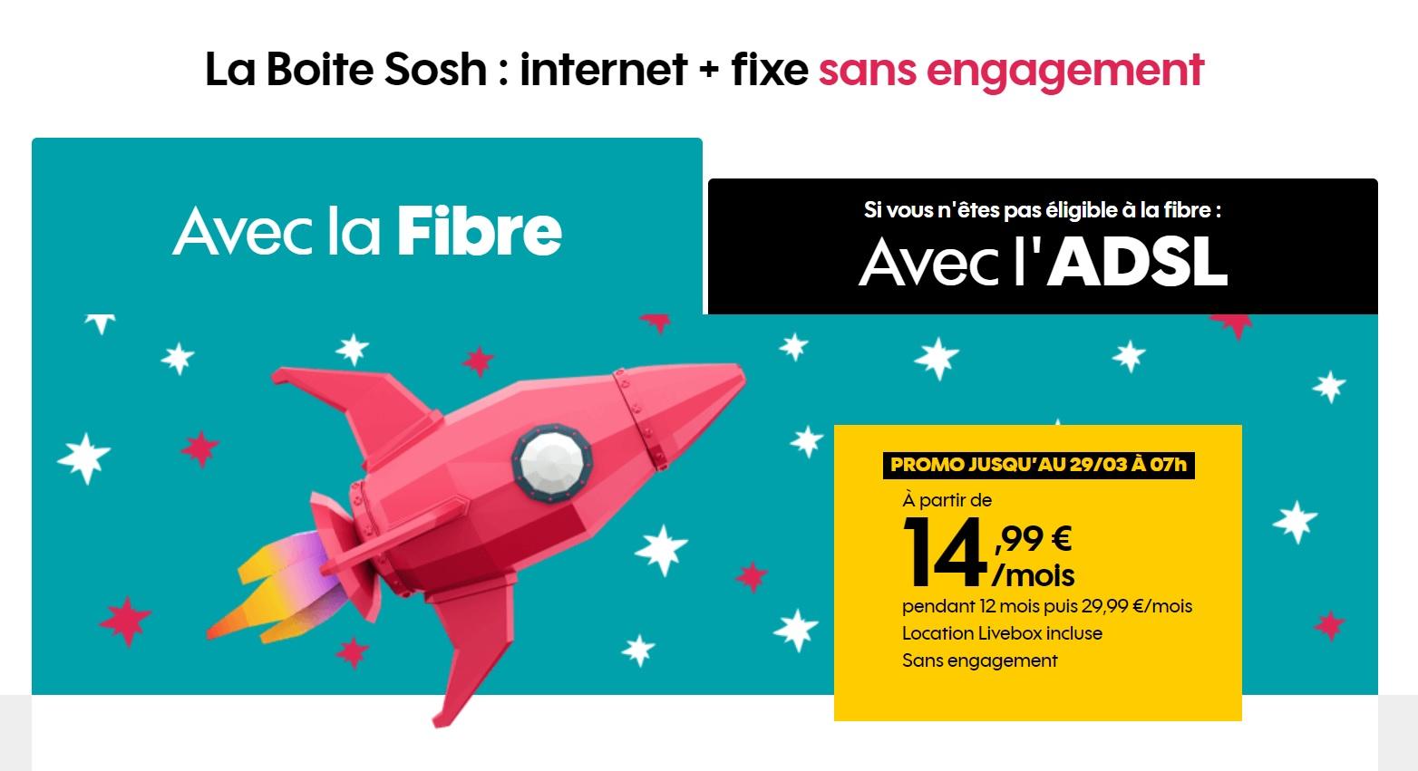 🔥 Prolongation : seulement 14,99 euros par mois pour la Boite Sosh (Fibre ou ADSL)